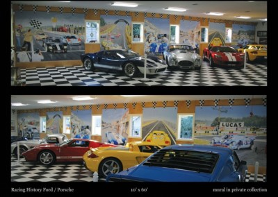 racing-history-of-ford-and-porsche-mural-in-private-collection